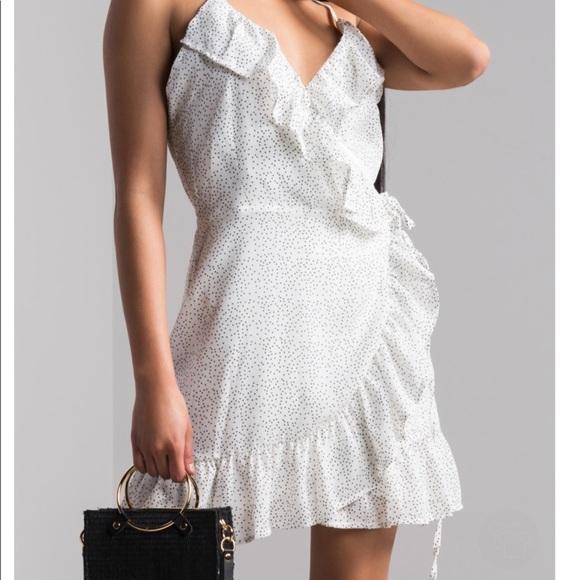 4e85f419f00f AKIRA Cassandra Polka Dot wrap Mini Dress